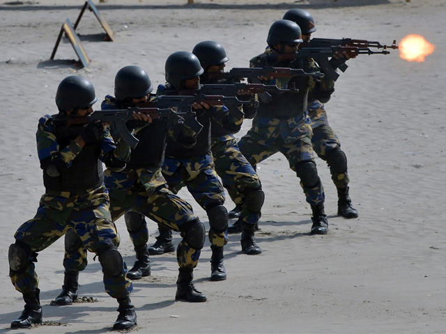Pakistani Naval soldiers take part in celebrations to mark Defence Day at Clifton beach in Karachi on September 6, 2017. PHOTO: AFP
