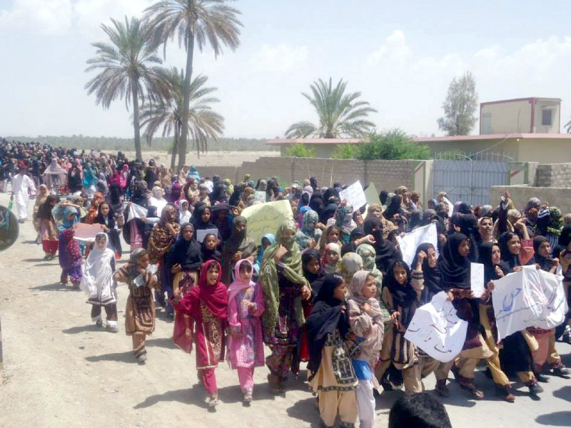 students march in turbat against threat to education photo shezad baloch express