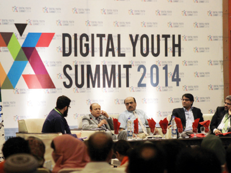 Panelists at one of the sessions at the Digital Youth Summit 2014. PHOTO: MUHAMMAD IQBAL/EXPRESS