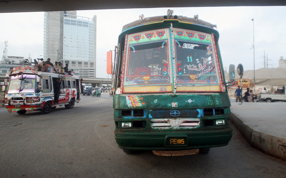 a marwat coach idles by the kpt interchange the 100 drivers for this route all synchronise their driving to a punishing schedule photo athar khan express
