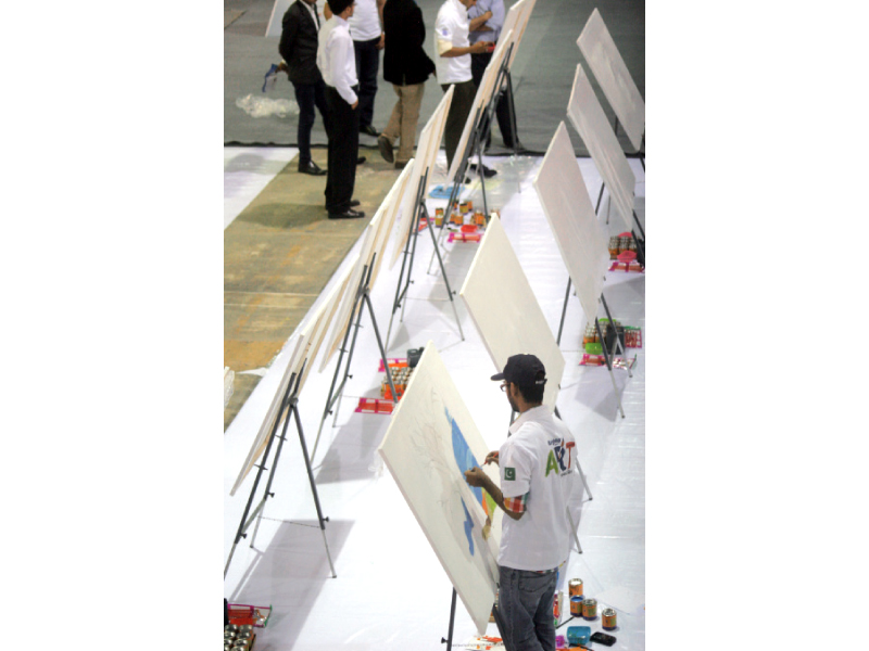 the express education expo featured various interesting events including a painting competition photo athar khan express