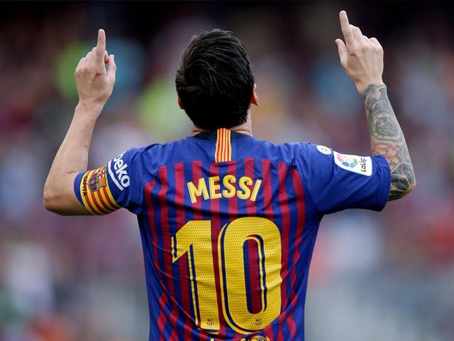 Lionel Messi of FC Barcelona celebrates during the La Liga Santander match between FC Barcelona v SD Huesca at the Camp Nou on September 2, 2018 in Barcelona Spain. PHOTO: GETTY