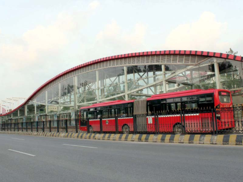a metro bus comes to a terminal after the resumption of the service on wednesday photo express