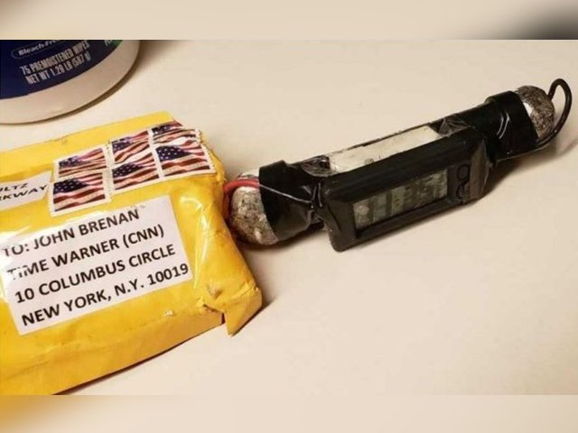 The image of a package sent to CNN on October 24, 2018 shows a rudimentary explosive wrapped in electrical tape with a digital timer attached. PHOTO: ABC NEWS