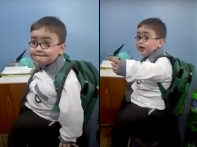 The common behaviour exhibited by Ahmed in these videos includes tantrums and shouting due to his emotional distress when his bag or other possessions are taken away from him.