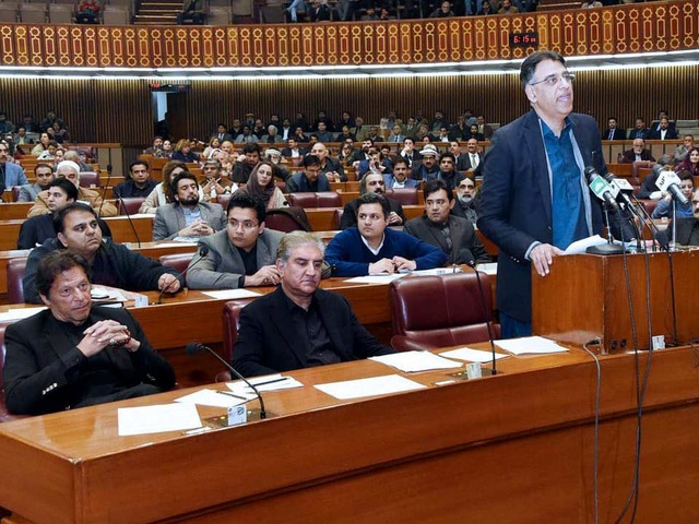Finance Minister Asad Umar delivers the Finance Supplementary Bill 2019 in the National Assembly on January 23, 2019. PHOTO: APP