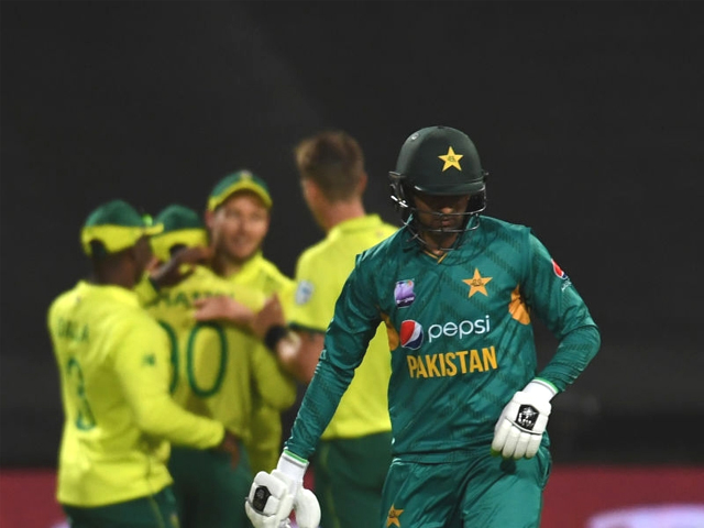 Shoaib Malik of Pakistan after being dismissed during the 1st KFC T20 International match between South Africa and Pakistan at PPC Newlands Stadium on February 1, 2019 in Cape Town, South Africa. PHOTO: GETTY