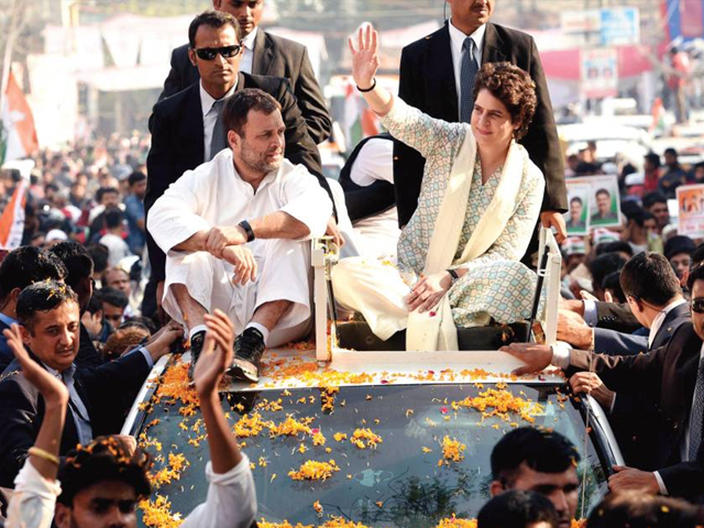 congress president rahul gandhi and east uttar pradesh general secretary priyanka gandhi vadra during a roadshow from chaudhary charan singh airport to the partys state headquarter on february 11 2019 in lucknow india photo getty