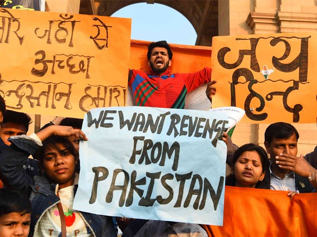 Protestors demand action against Pakistan at Delhi's India Gate on February 16 after a terror attack on February 14, 2019. PHOTO: AFP