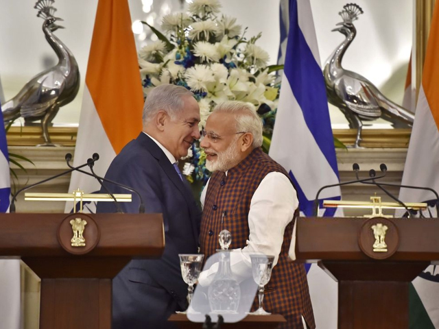 Indian Prime Minister Narendra Modi and Israeli Prime Minister Benjamin Netanyahu during a joint statement after delegation-level talks at Hyderabad House on January 15, 2018 in New Delhi, India. PHOTO: GETTY