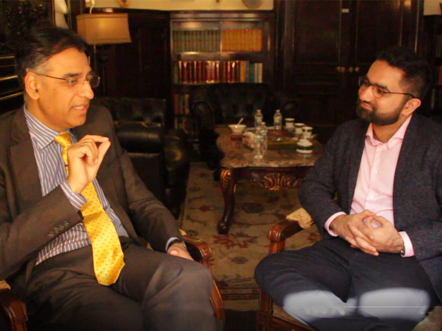 M Bilal Lakhani in conversation with Finance Minister Asad Umar after his meeting with the IMF in New York City on April 13, 2019. PHOTO: SCREENGRAB