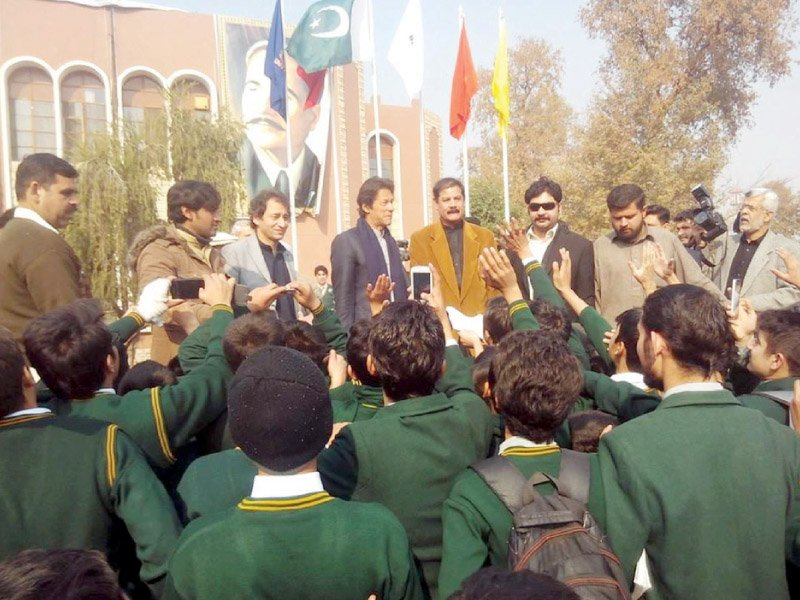 aps students take pictures of imran khan photo express