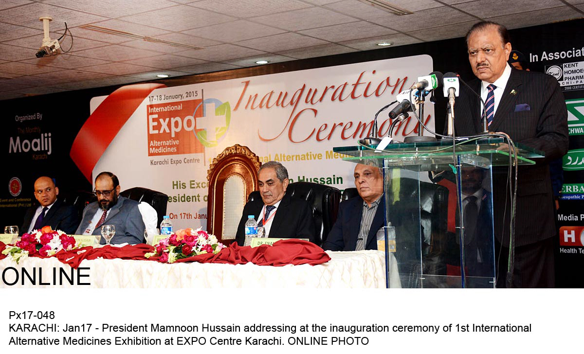 President Mamnoon Hussain addresses the inauguration ceremony of the 1st Alternative Medicines Exhibition at the Expo Centre Karachi on Saturday, January 17, 2015. PHOTO: ONLINE