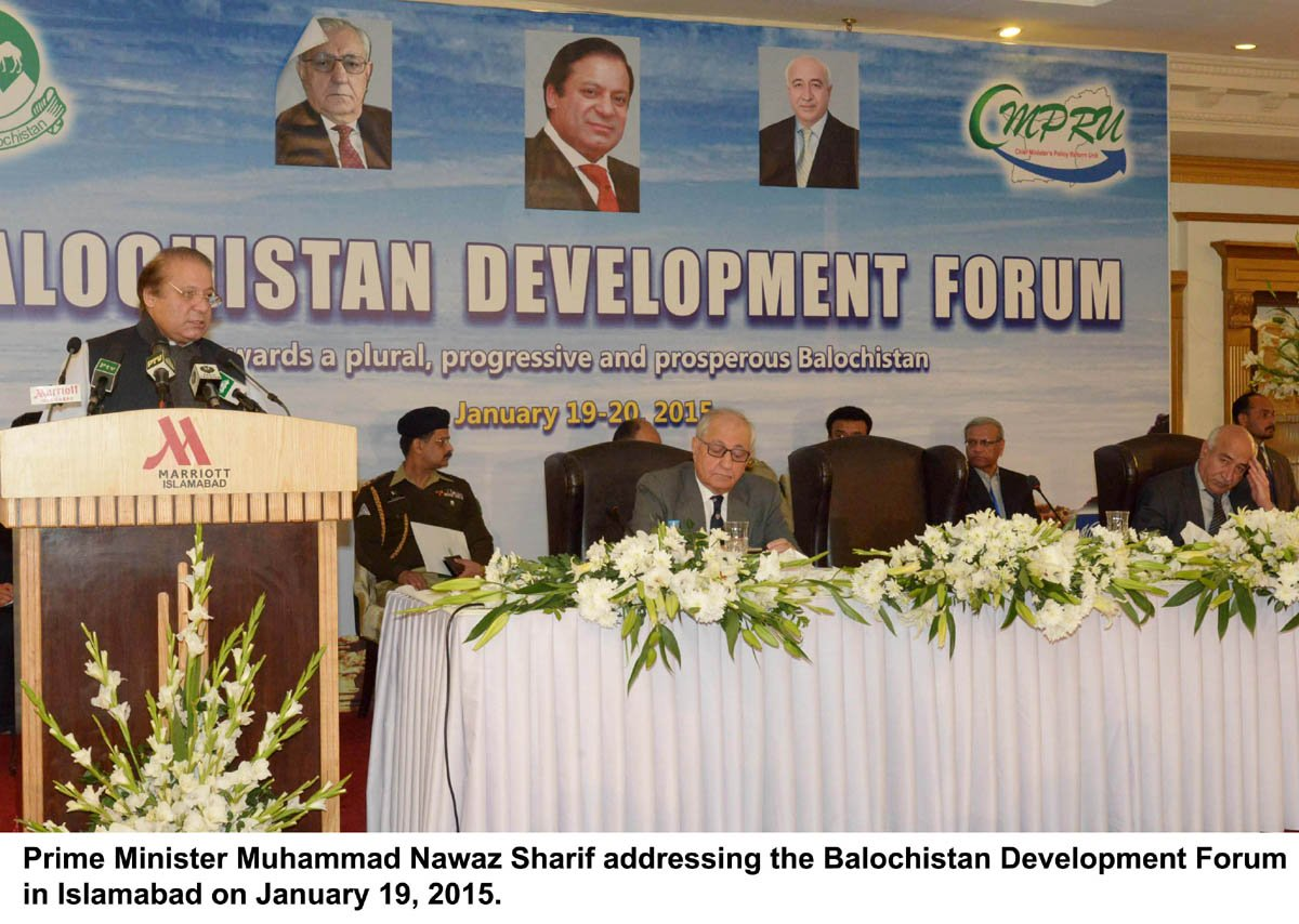 balochistan chief minister abdul malik baloch r at the balochistan development forum in islamabad on monday photo pid