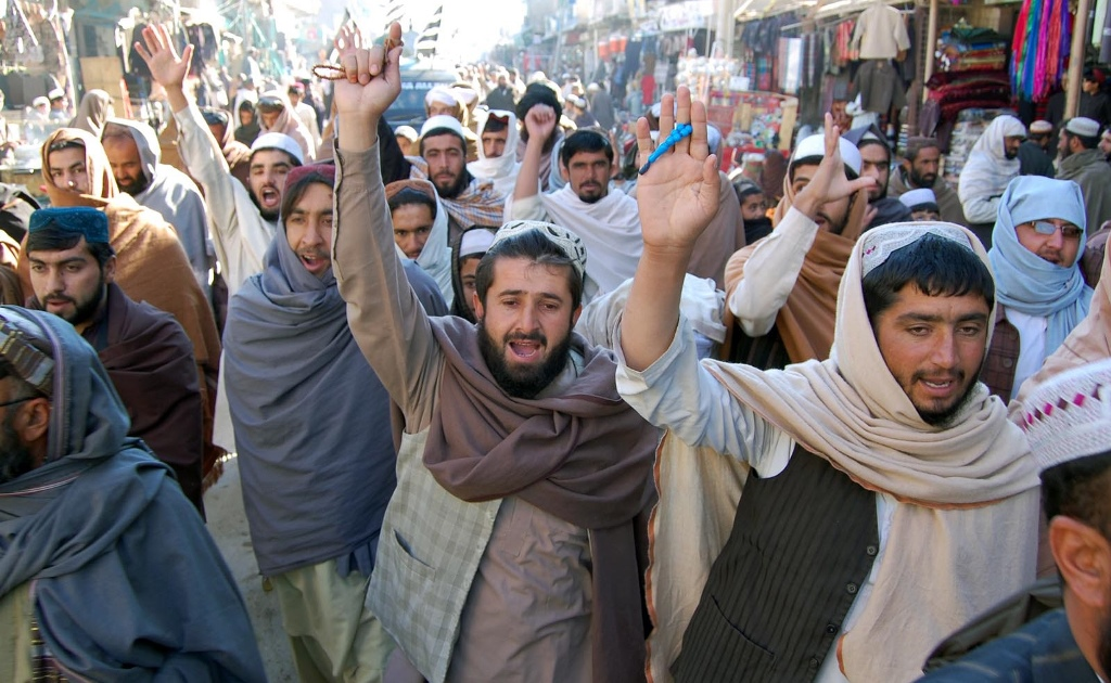 Activists of JUI-N protesting against Charlie Hebdo. PHOTO: INP