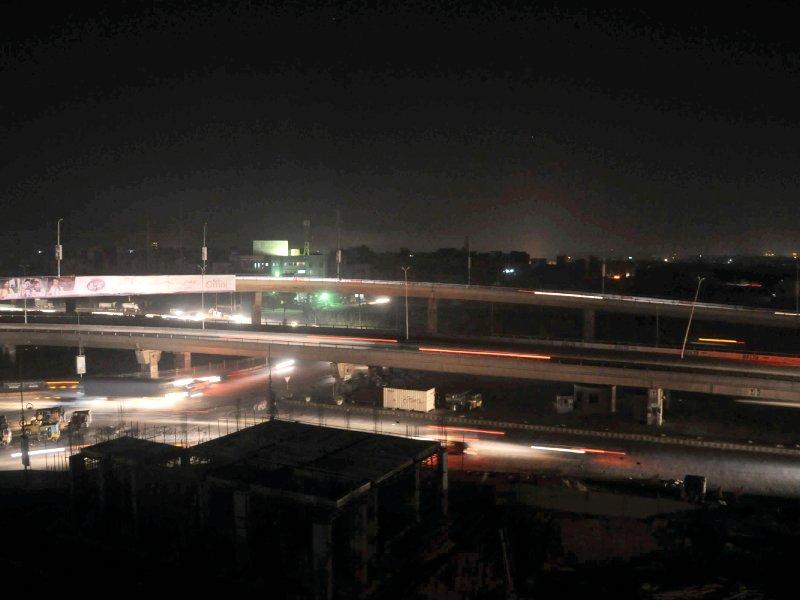 a view of a karachi neighbourhood after saturday night s power breakdown photo express