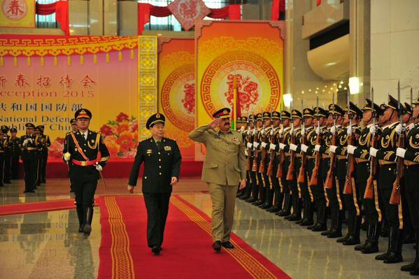 coas general raheel sharif reviews guard of honour alongwith his chinese counterpart gen qi jianguo at the pla headquarters photo ispr