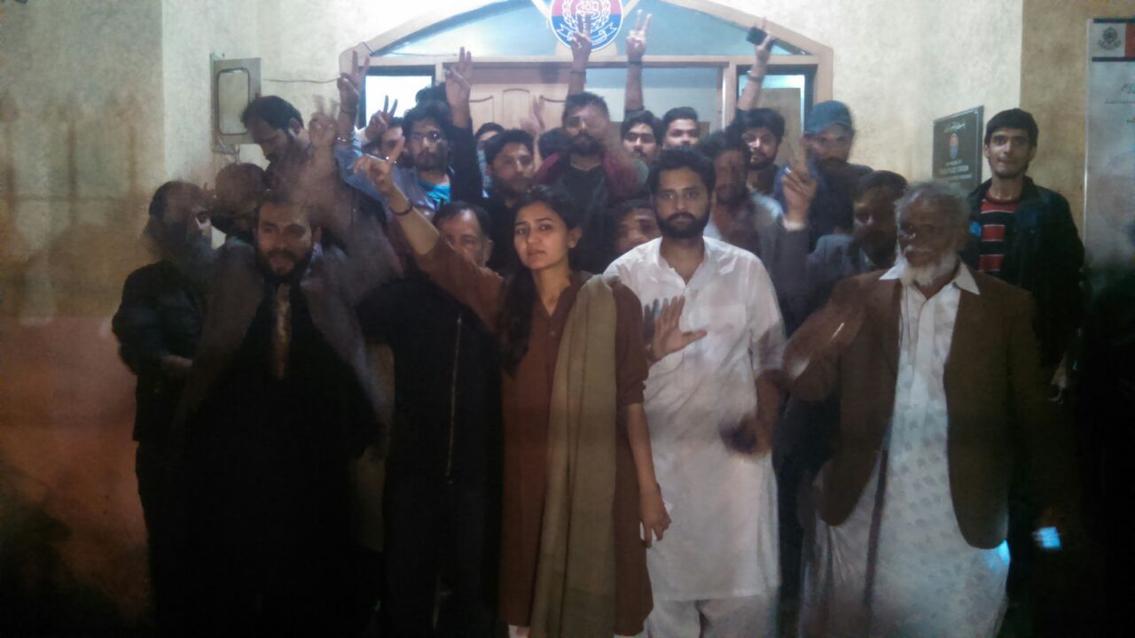Jibran Nasir among civil society activists released by the Frere Town Police Station on Thursday evening. PHOTO: NOMAN AHMED
