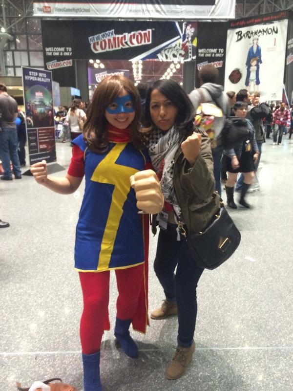 sana amanat with ms marvel   aka kamala khan the marvel superhero she co created photo sana amanat minib622