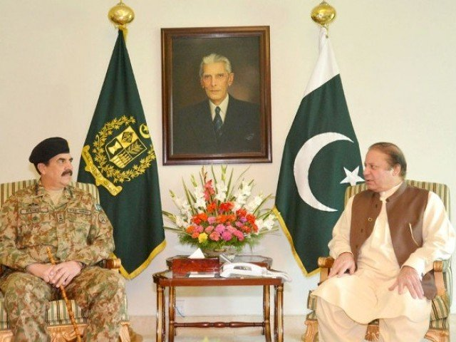 A file photo of Prime Minister Nawaz Sharif in a meeting with COAS General Raheel Sharif. PHOTO: PID.GOV.PK