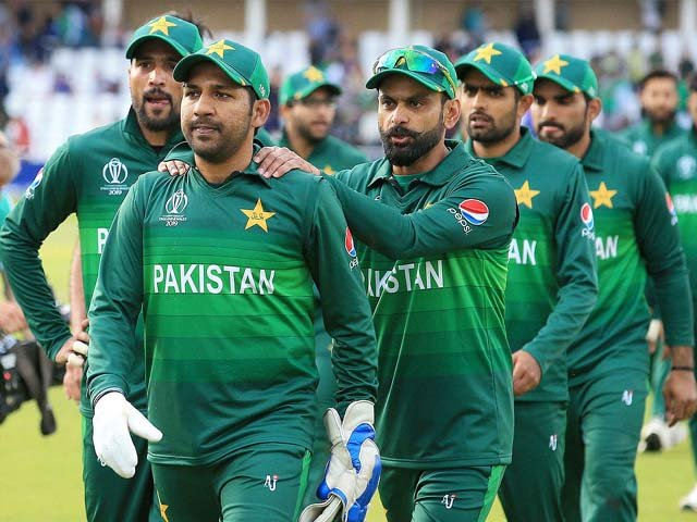 Sarfaraz Ahmed leads his team off of the pitch after winning against England at Trent Bridge in Nottingham. PHOTO: AFP