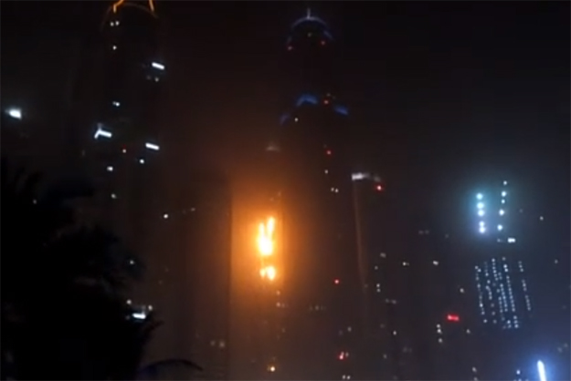 A screengrab from a video posted online of the plaza on fire.
