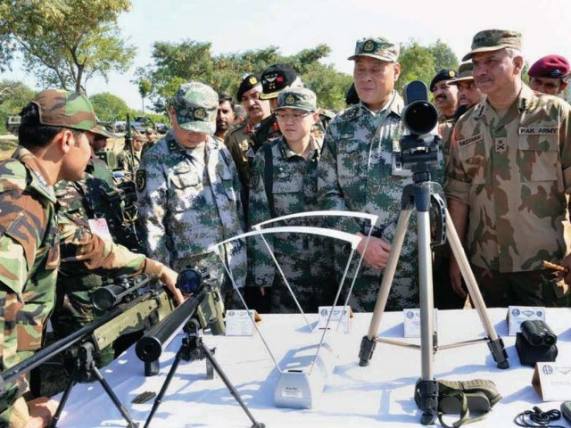 in a file photo lt gen muzammil hussain with lt gen zhao jianzhong deputy commander chinese pla at the opening of pak china joint exercise photo app