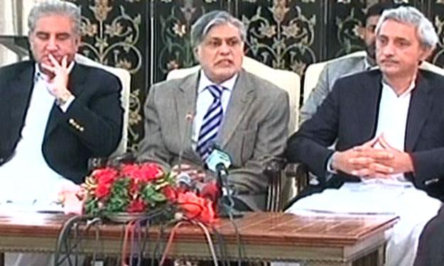 finance minister ishaq dar addressing a press conference on friday