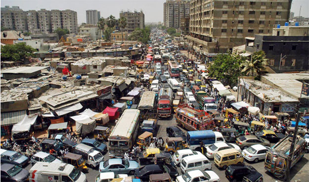 This is what Karachi's traffic tends to look like around Empress Market. Note how the buses get stuck because they don't have a lane dedicated to them. PHOTO: TRADEKEY