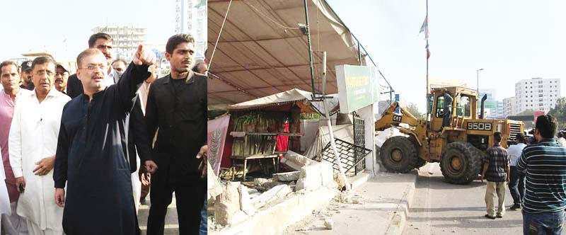 Sindh Minister for Local Bodies Sharjeel Inaam Memon oversees demolition of a marriage hall in Karachi. PHOTO: EXPRESS