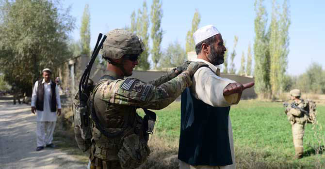 a us army soldier searches an afghan man during a patrol near baraki barak base in logar province photo afp