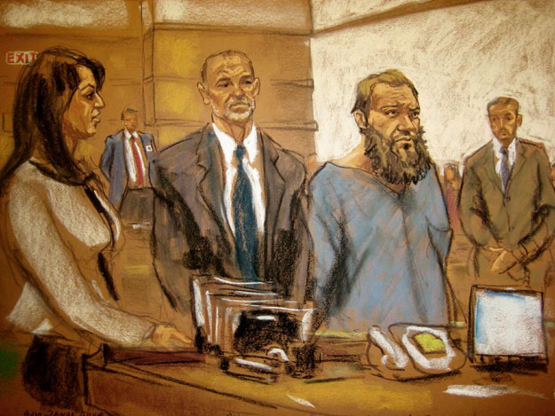 In this courtroom sketch, Muhanad Mahmoud Al Farekh, third from left, makes an appearance at federal court in New York on Thursday, April 2, 2015.
