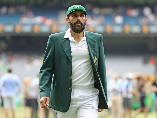 Misbahul Haq looks on during day one of the second Test match between Australia and Pakistan on December 26, 2016. PHOTO: AFP