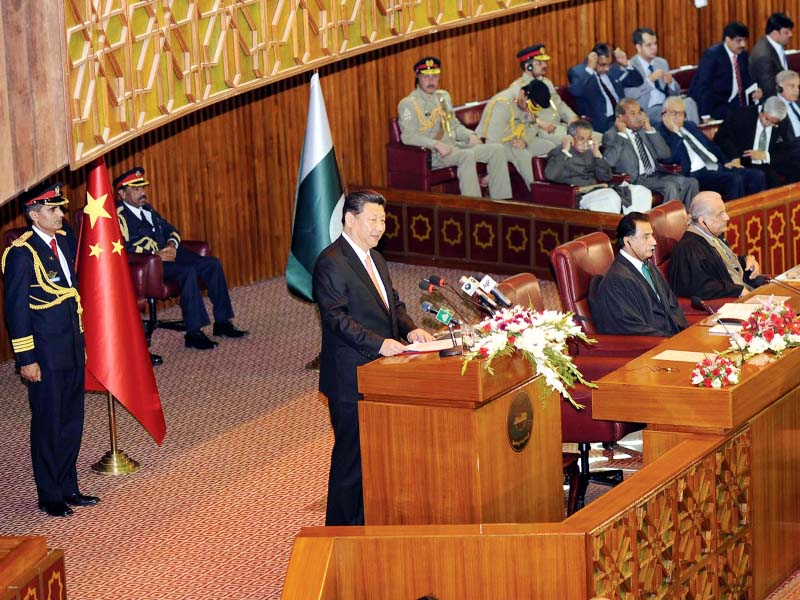 Chinese President Xi Jinping speaks at a joint session of parliament in Islamabad. PHOTO: AFP