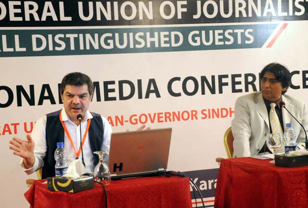tv anchor mubashir luqman speaking at a session photo express