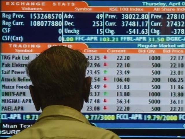 A Pakistani stockbroker watches the latest share prices during a trading session. PHOTO: AFP