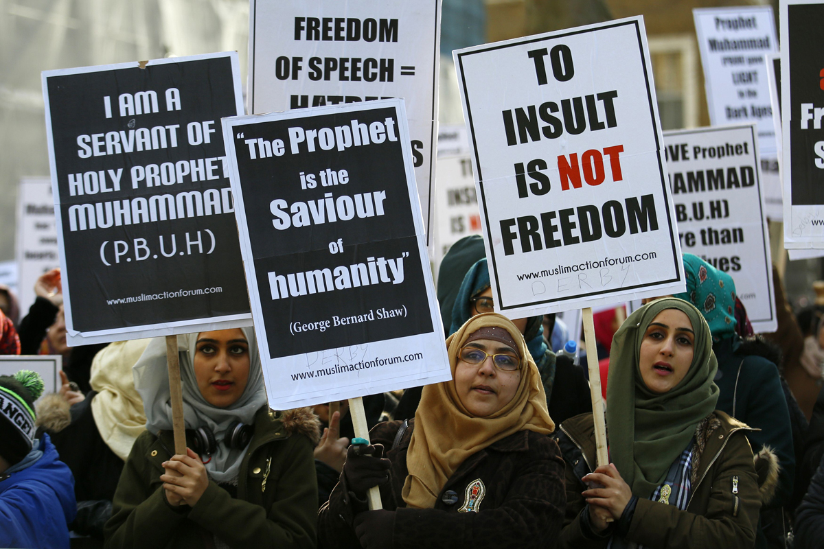 muslim demonstrators protest near downing street in central london on february 8 2015 photo afp
