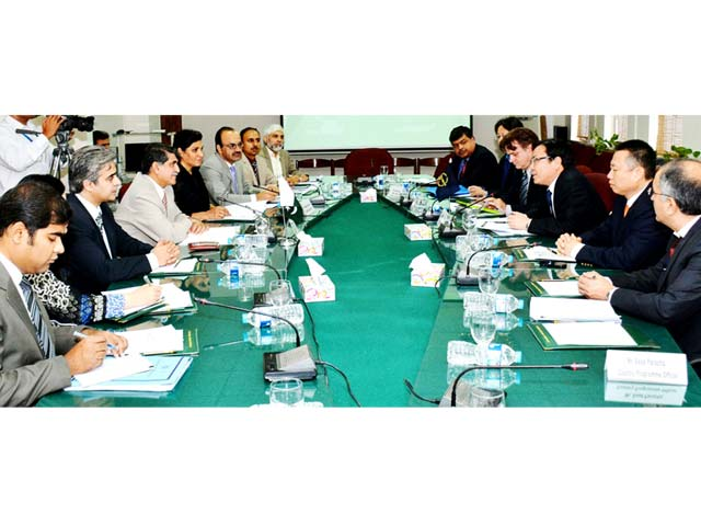 secretary economic affairs division saleem sethi in a meeting with adb vice president wencai zhang in islamabad on tuesday photo pid