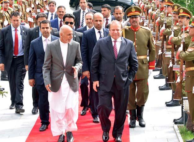 prime minister nawaz sharif and afghan president ashraf ghani at dilkusha palace in kabul on tuesday may 12 2015 photo pid