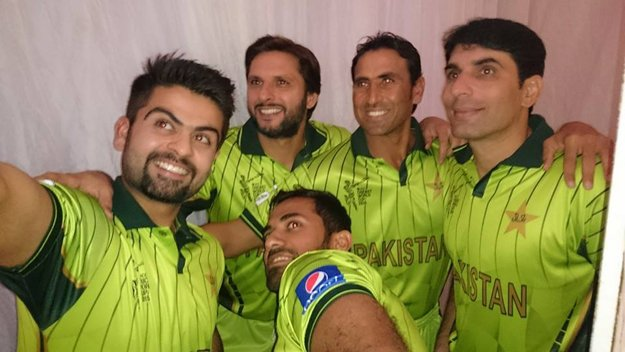 Ahmed Shehzad posing for a selfie in the new 2015 World Cup kit. PHOTO: TWITTER
