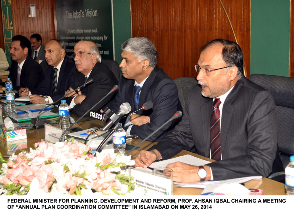 minister for planning development and reforms ahsan iqbal chairing a meeting of annual plan coordination committee in islamabad on may 26 2014 photo pid
