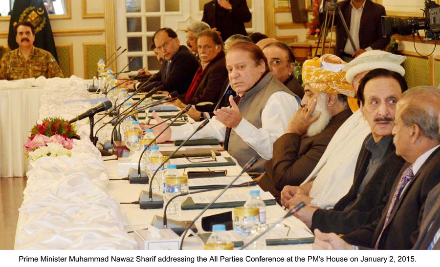 File photo of prime minister addressing the All Parties Conference at PM House on January 2, 2015. PHOTO: PID