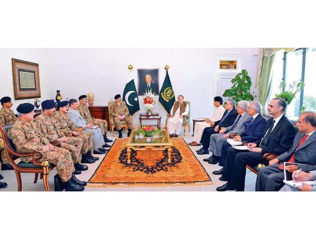 PM Nawaz chairs a meeting of the top civil and military leadership at the PM House. PHOTO: APP