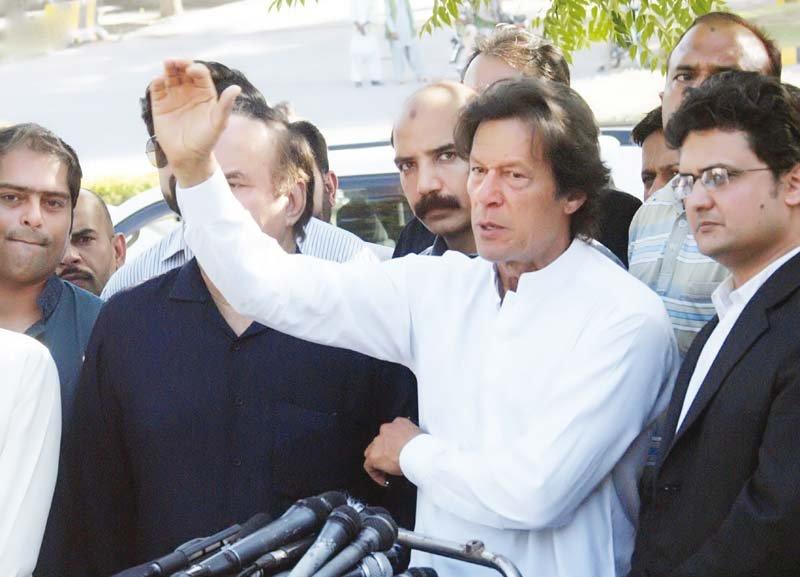 imran khan talks to the media outside the supreme court photo nni