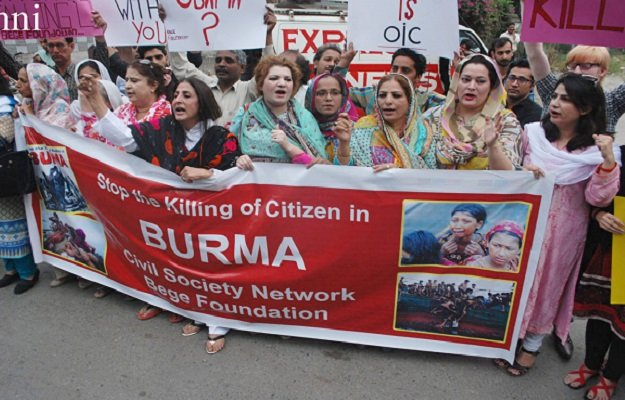 civil society protesting against the killing of muslims in myanmar photo express