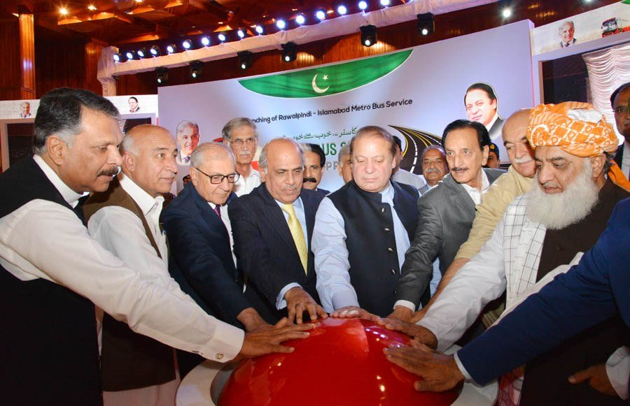 Prime Minister Nawaz Sharif along with other political leaders inaugurates the Rawalpindi-Islamabad Metro Bus service in Islamabad on Thursday, June 4, 2015. PHOTO: PID