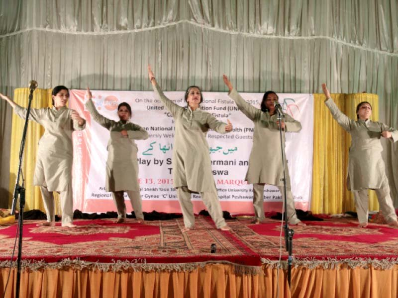 actors perform at palm marquee hall university road photo muhammad iqbal express