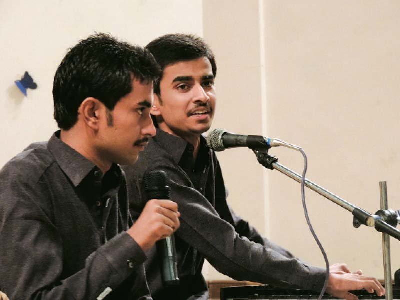 Nazakat and Rahat mesmerised the audience by  performing their father's songs at a musical evening. PHOTO: EXPRESS
