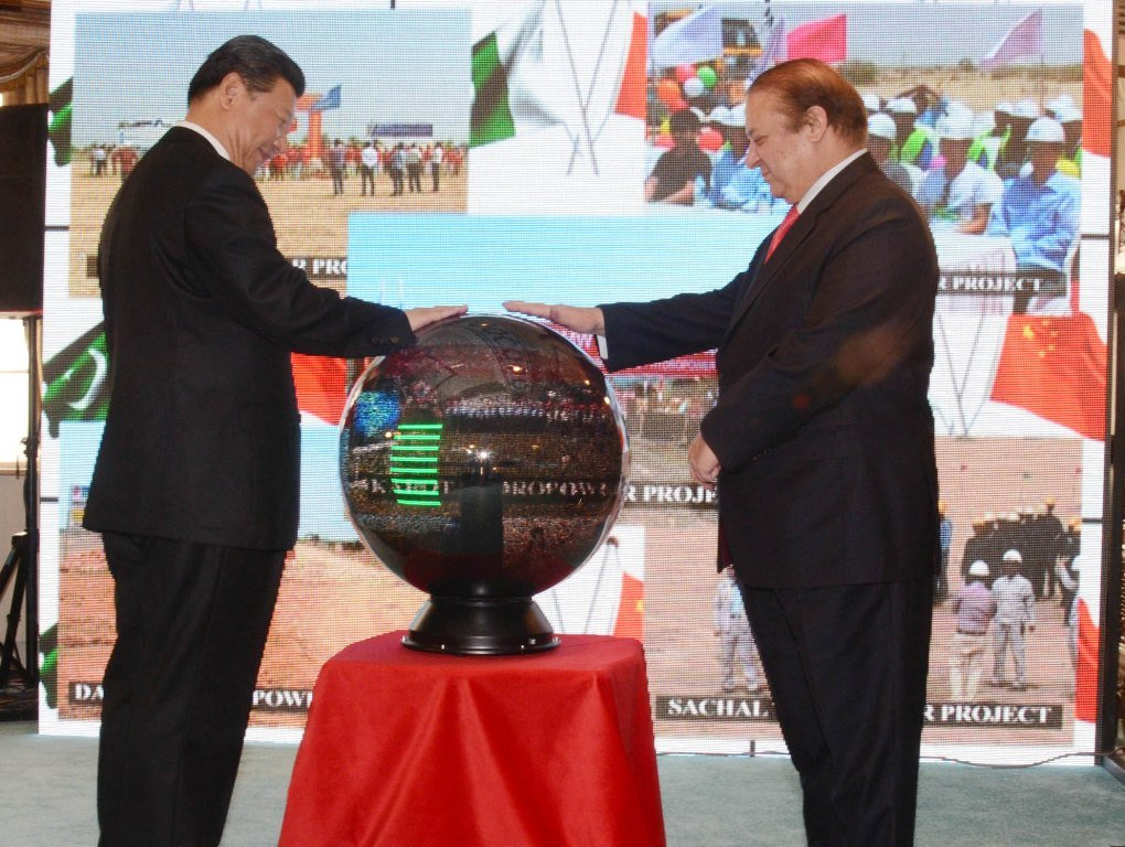 prime minister nawaz sharif and chinese president xi jinping inaugurate projects through video link in islamabad on april 20 2015 photo pid