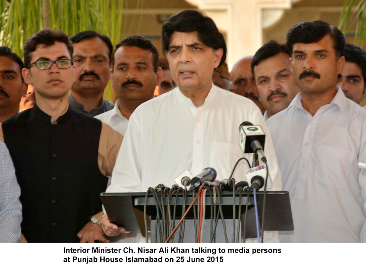 interior minister chaudhry nisar ali khan addressing the media in islamabad on thursday photo pid